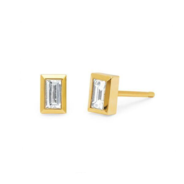Baguette Studs Yellow Gold
