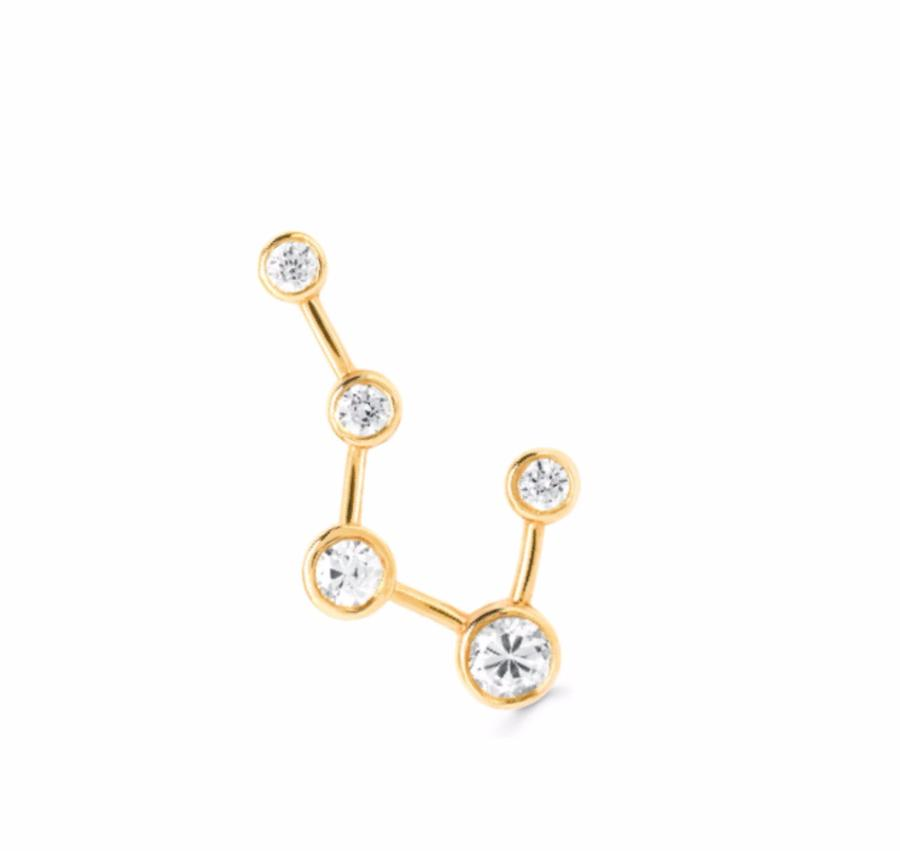 Single Large Big Dipper Constellation Earring Yellow Gold