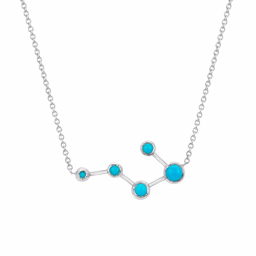Big Dipper Turquoise Constellation Necklace White Gold