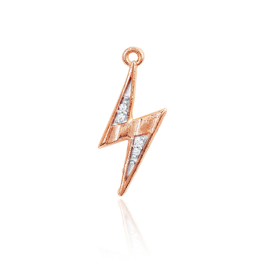 Mini Lightening Bolt Charm Rose Gold