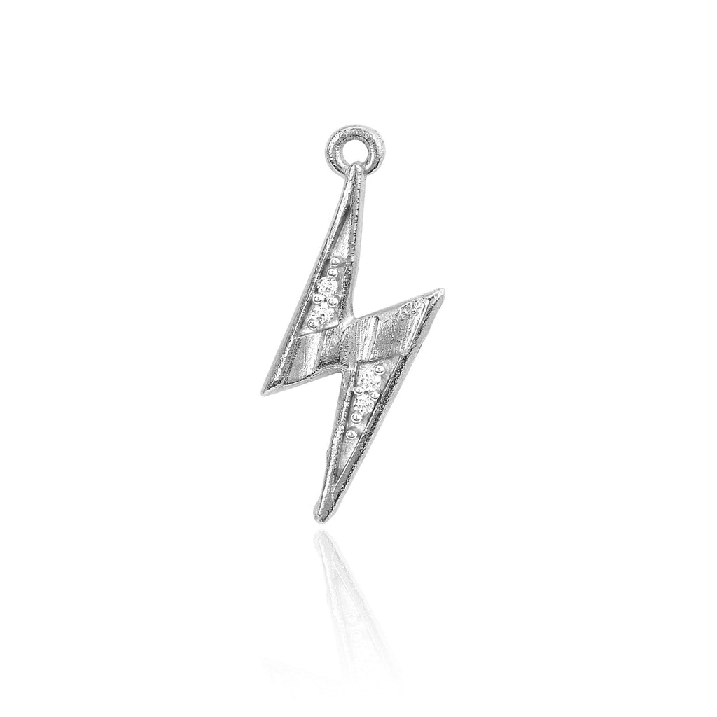 Mini Lightening Bolt Charm White Gold