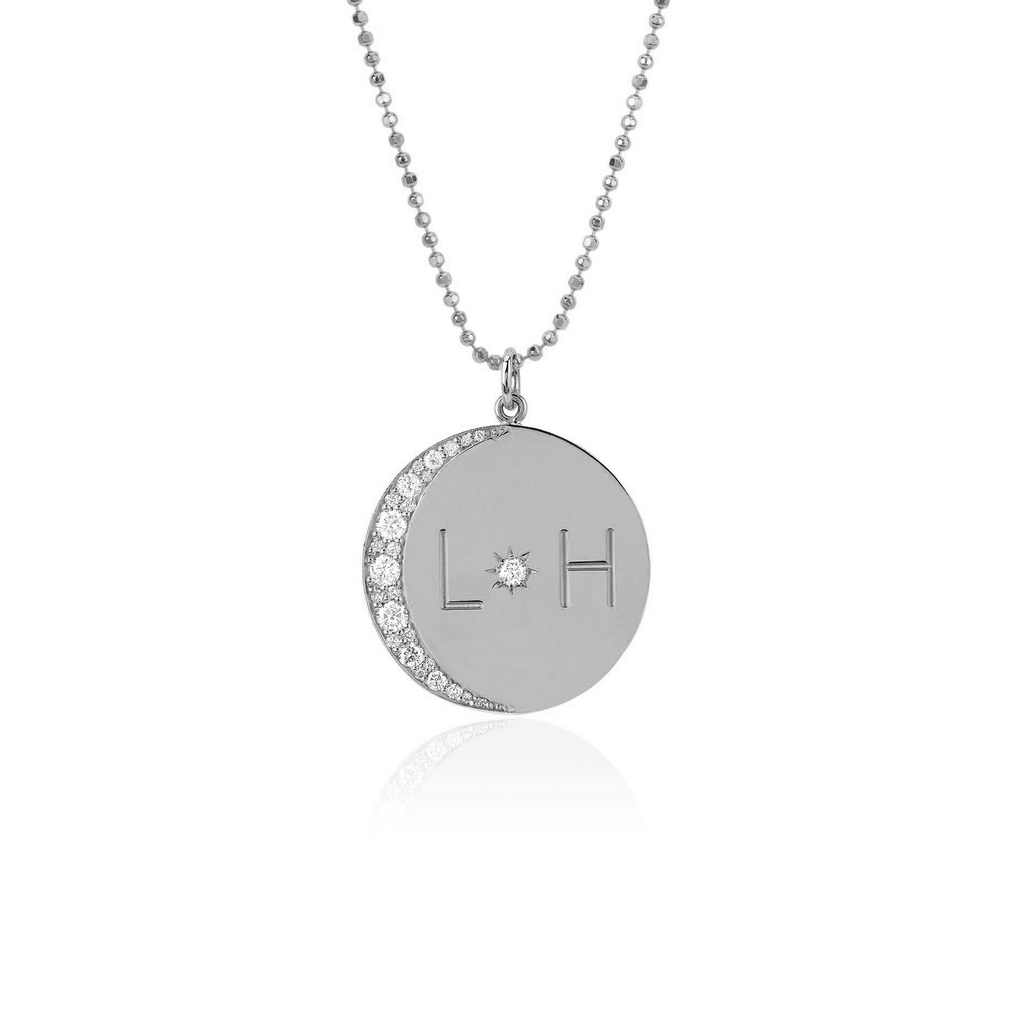 Medium Love You To The Moon and Back Necklace with Diamonds on Ball Chain White Gold