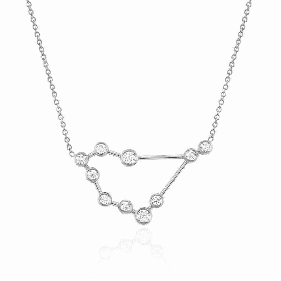 Capricorn Constellation Necklace White Gold