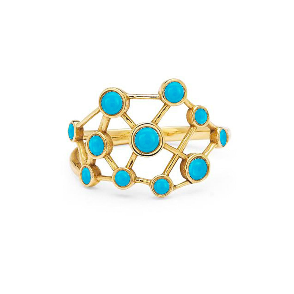 Turquoise Constellation Ring Yellow Gold