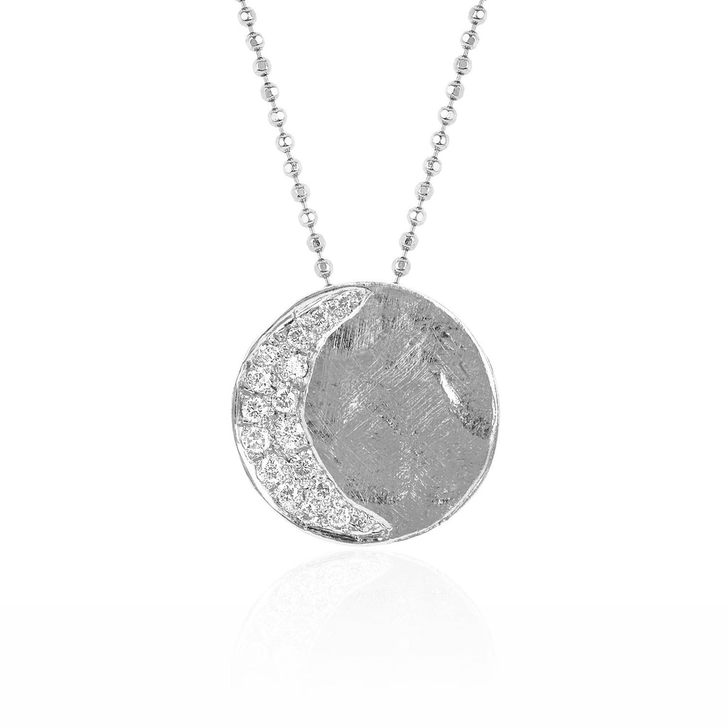Waxing Crescent Moon Phase Coin Necklace White Gold