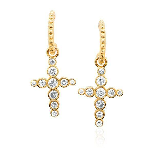 Diamond Celestial Cross Hoops Yellow Gold