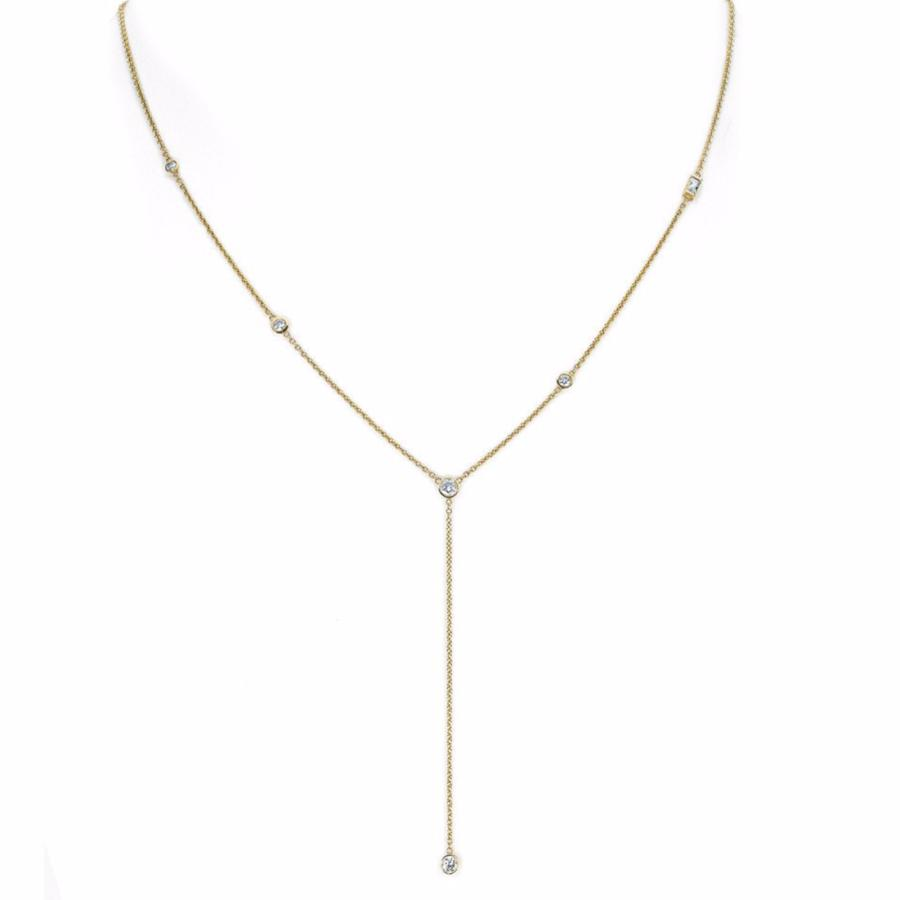 Diamond Star Droplet Necklace with Baguette Yellow Gold
