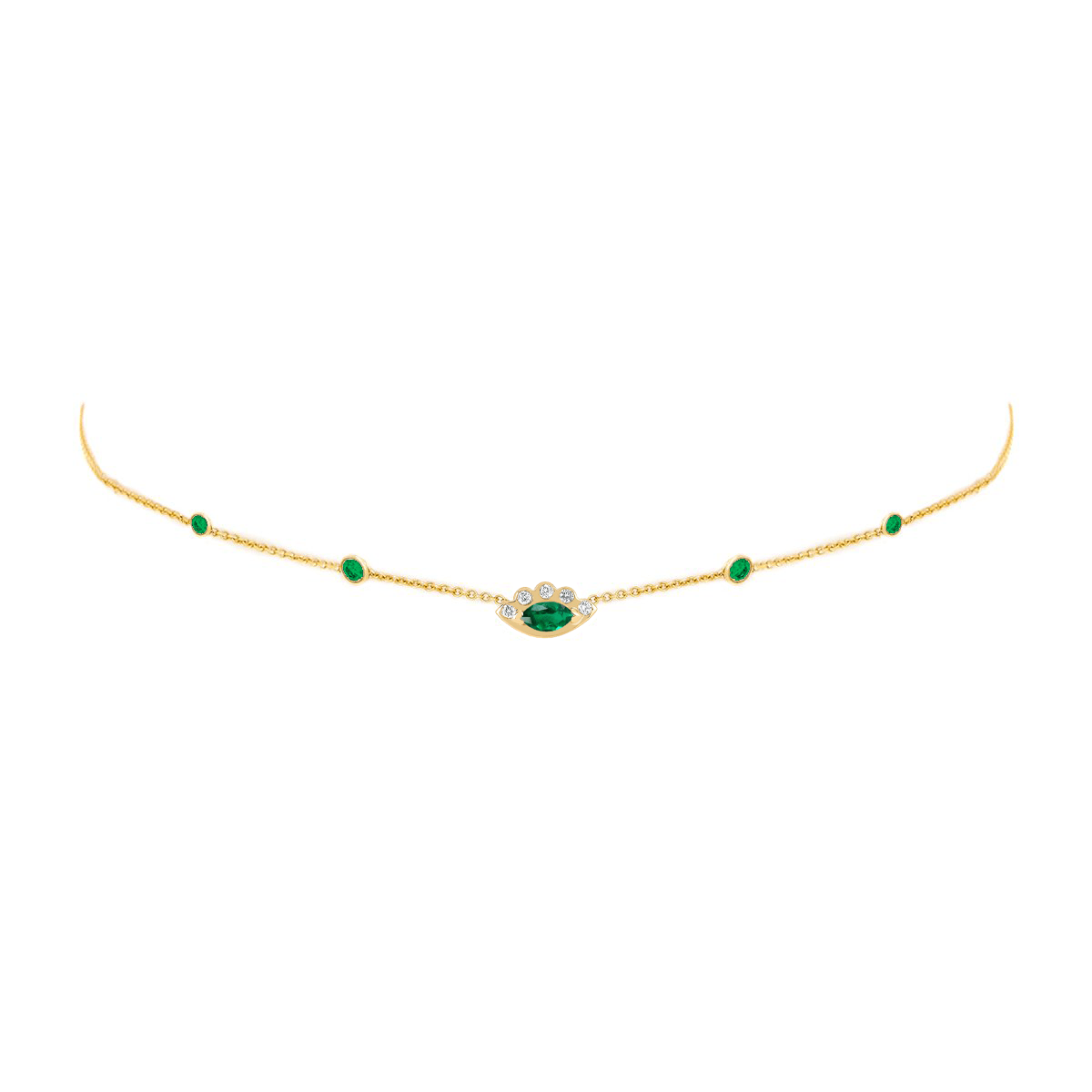 5 Emerald Orbit Bezel Choker with Angel Eye Emerald Center