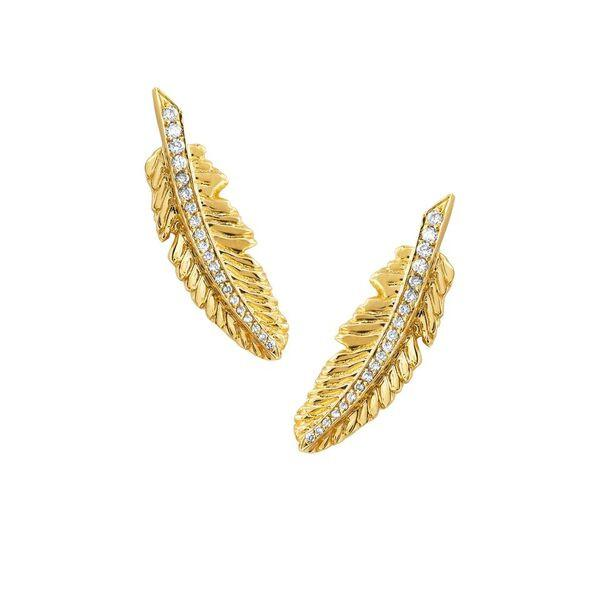 Angel Feather Earrings Yellow Gold