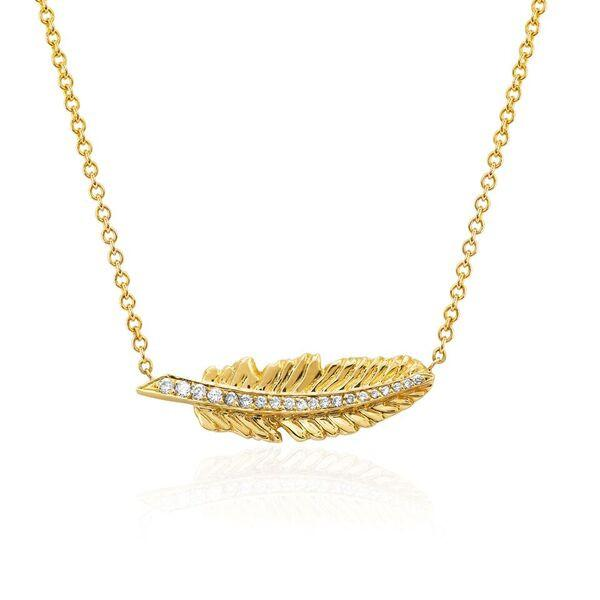 Angel Feather Necklace Yellow Gold