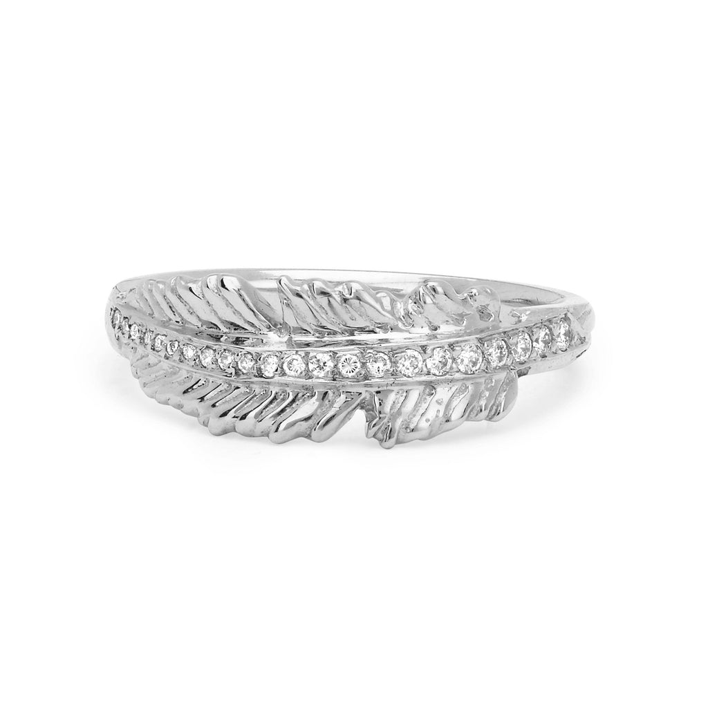 Angel Feather Ring White Gold