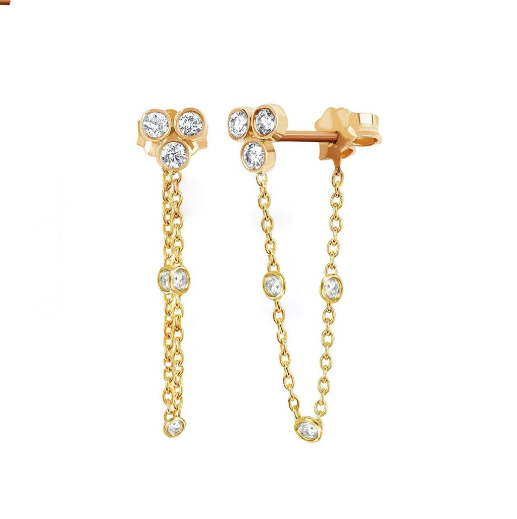 Star Shower 3 Diamond Bezel Chain Earring Yellow Gold