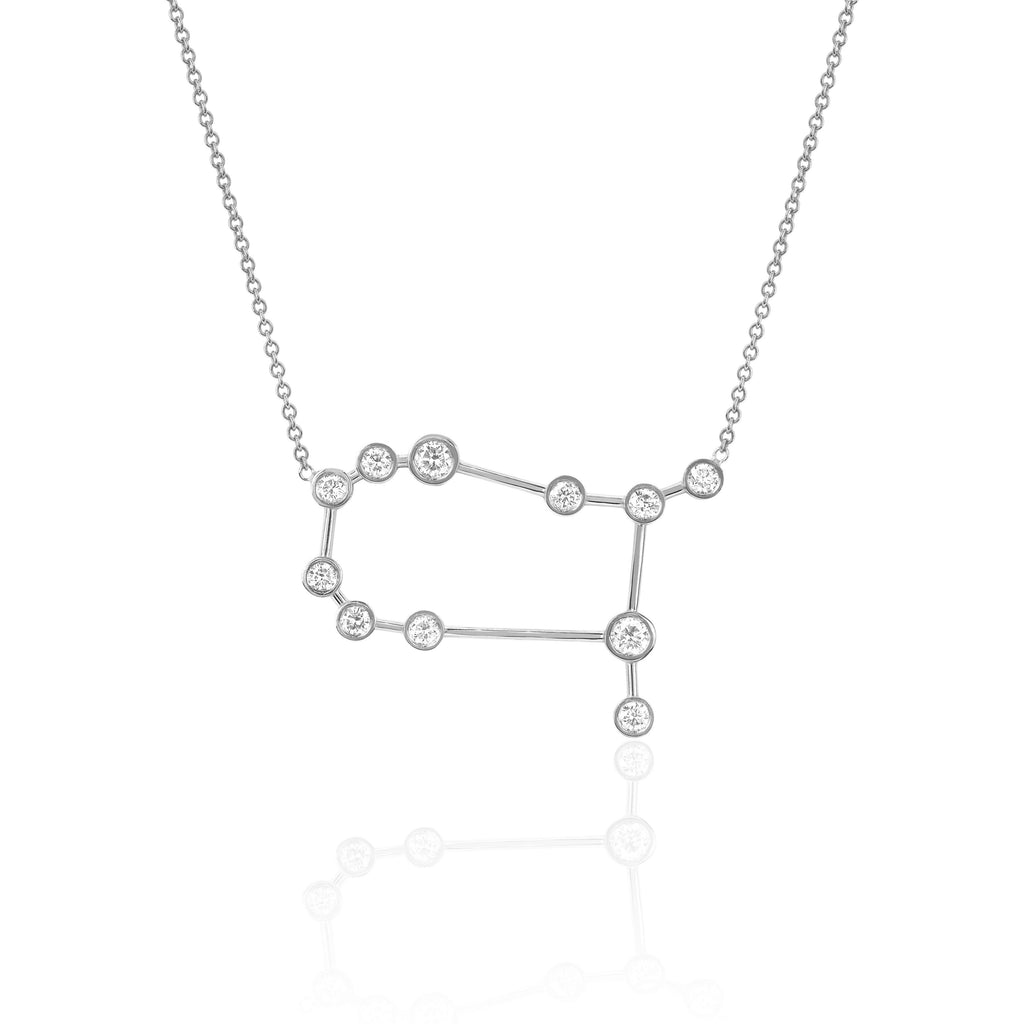 Gemini Constellation Necklace White Gold