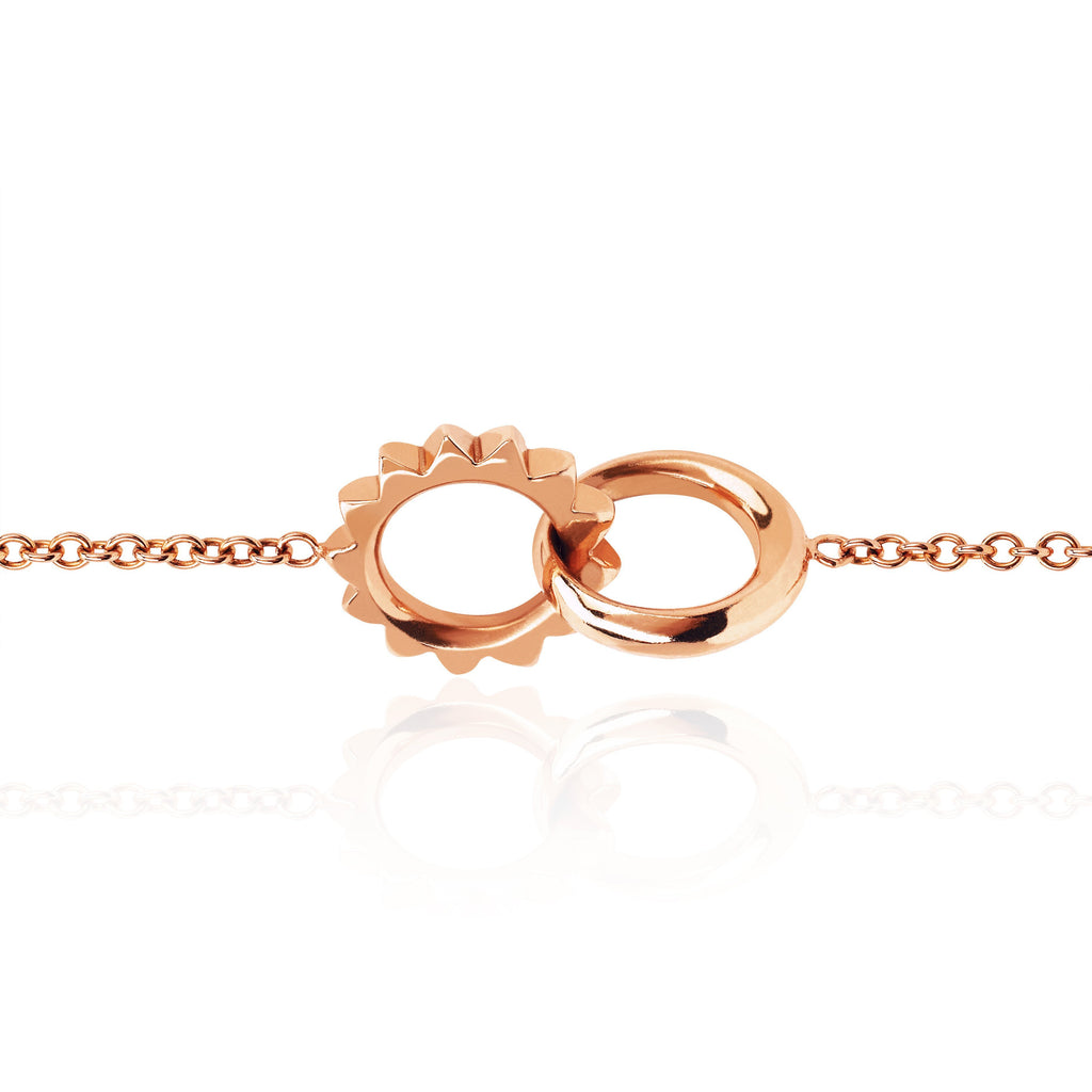 Interlocking Unity Solid Gold Bracelet Rose Gold
