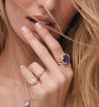 Baby Queen Oval Moonstone Ring with Full Pavé Diamond Halo Baby Queen Oval Moonstone Ring with Full Pavé Diamond Halo