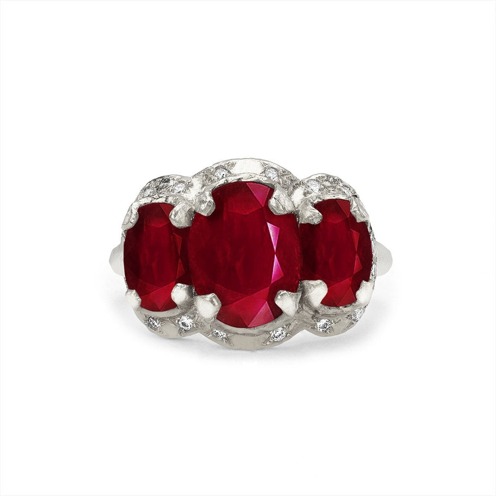Queen Triple Goddess Ruby Ring with Sprinkled Diamonds Queen Triple Goddess Ruby Ring with Sprinkled Diamonds
