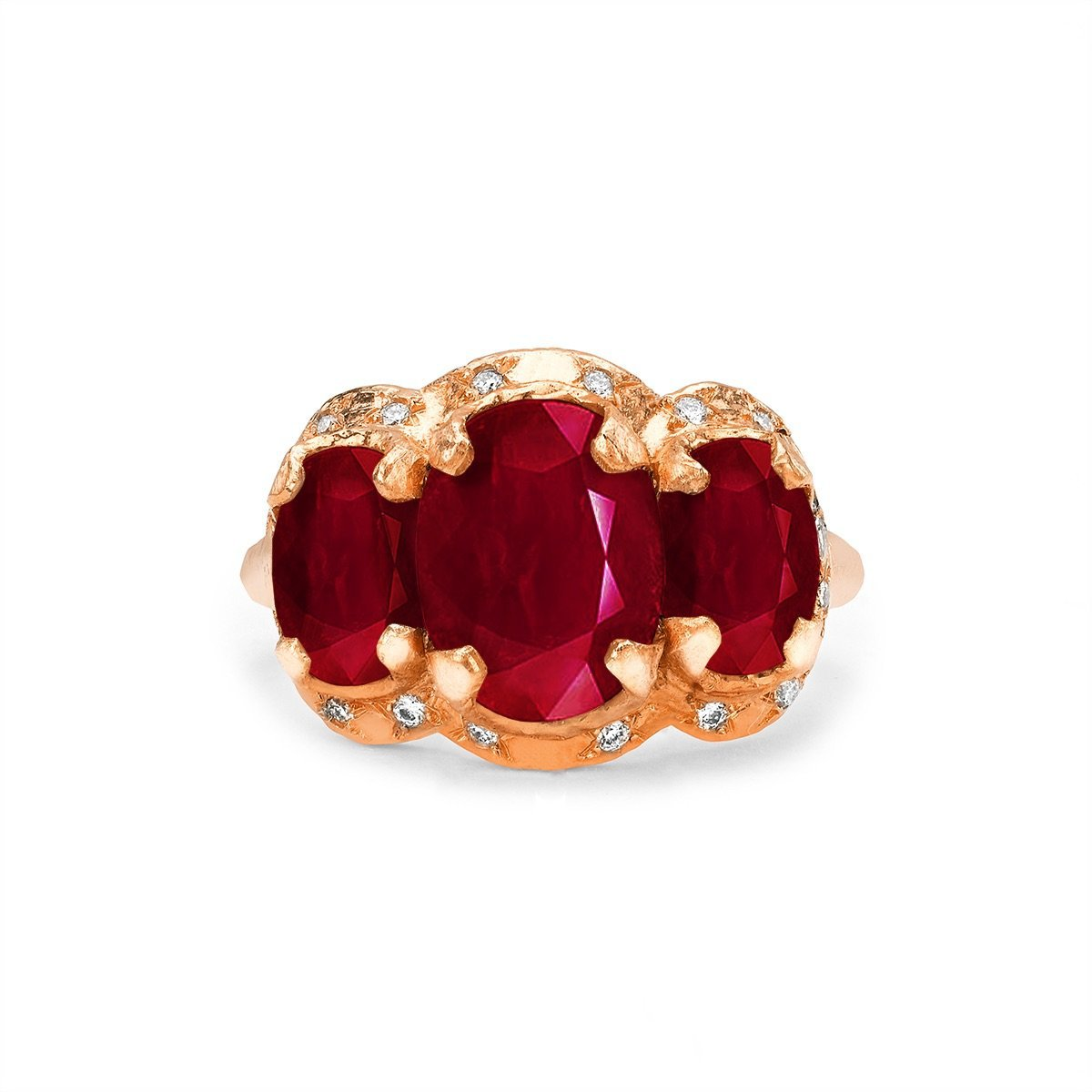 Queen Triple Goddess Ruby Ring with Sprinkled Diamonds