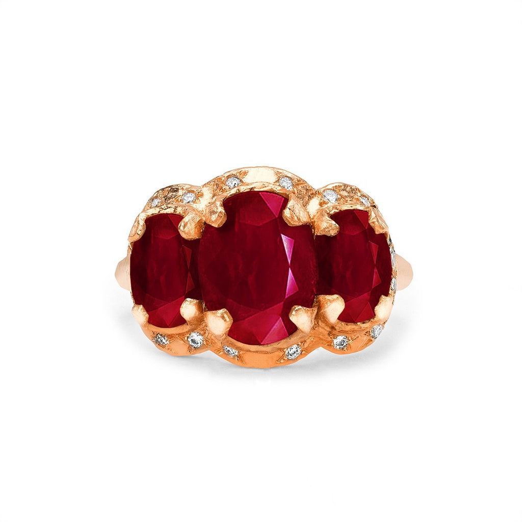NEW! Queen Triple Goddess Ruby Ring with Sprinkled Diamonds NEW! Queen Triple Goddess Ruby Ring with Sprinkled Diamonds