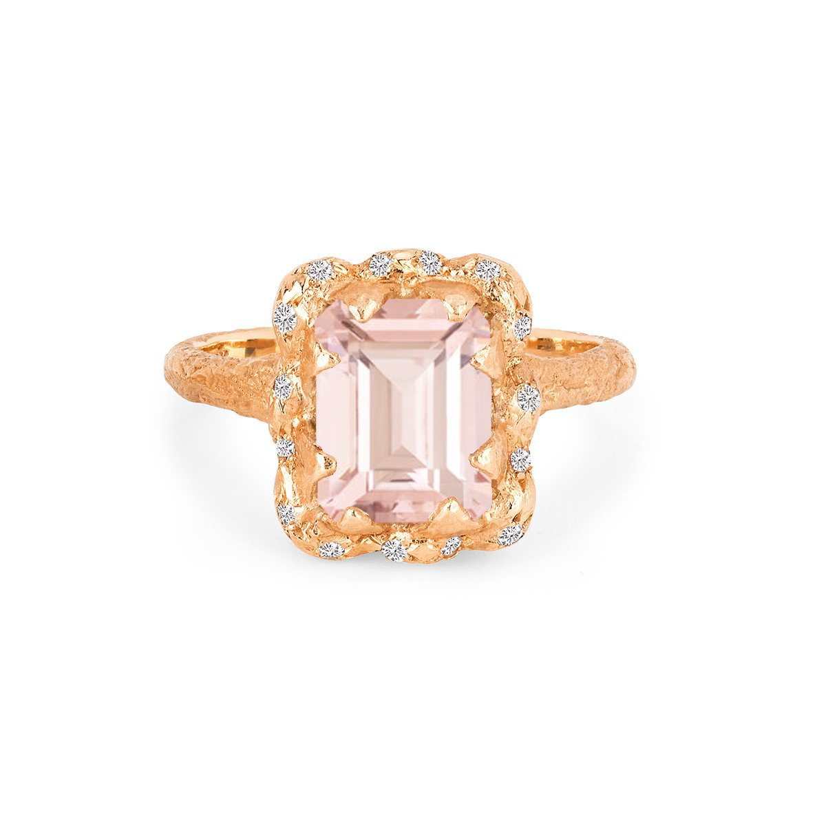 18k Queen Emerald Cut Morganite Ring with Sprinkled Diamonds