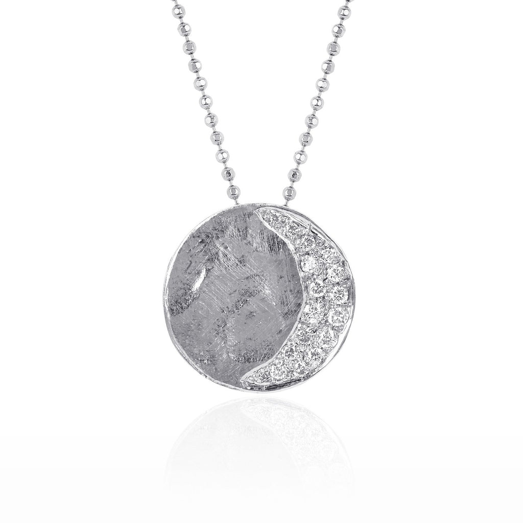 Waning Crescent Moon Phase Coin Necklace White Gold