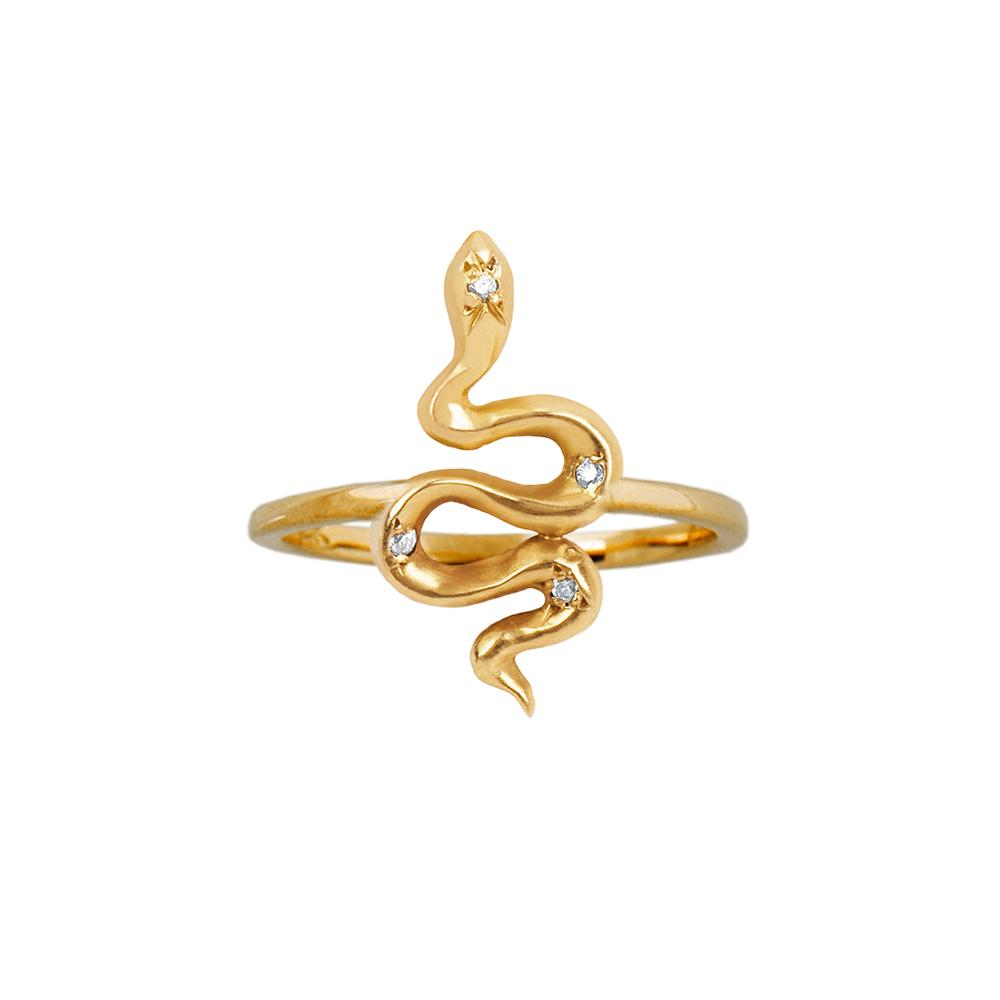 Kundalini Baby Snake Ring with Star Set Diamonds Yellow Gold