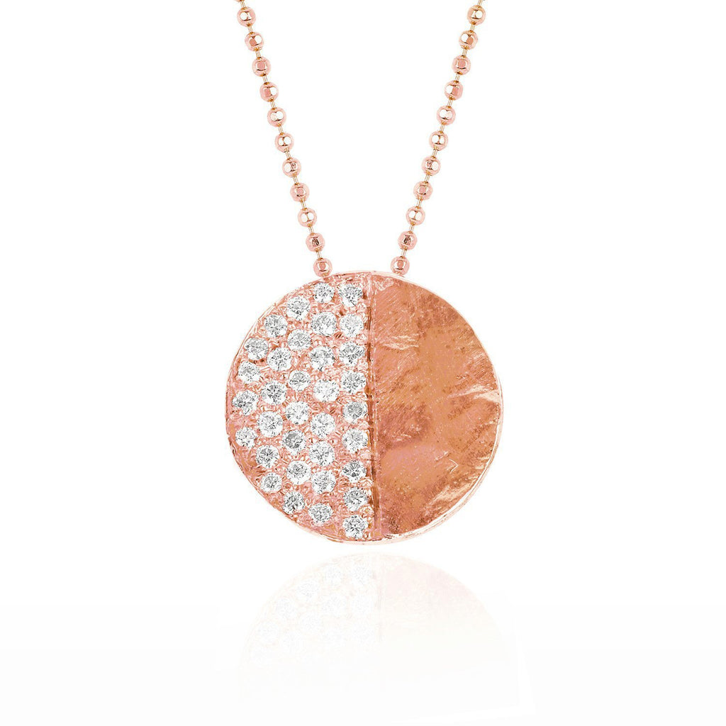 First Quarter Moon Phase Coin Necklace Rose Gold