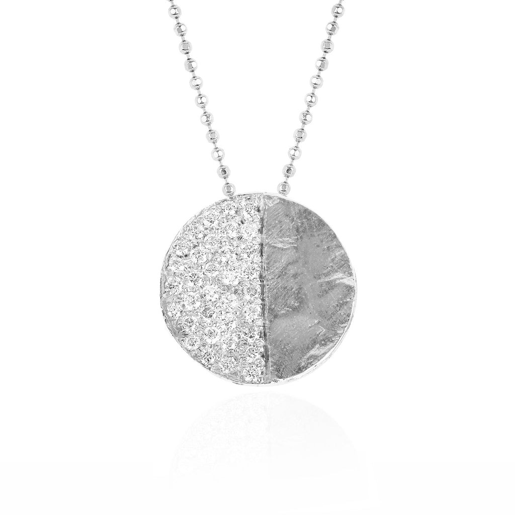 First Quarter Moon Phase Coin Necklace White Gold