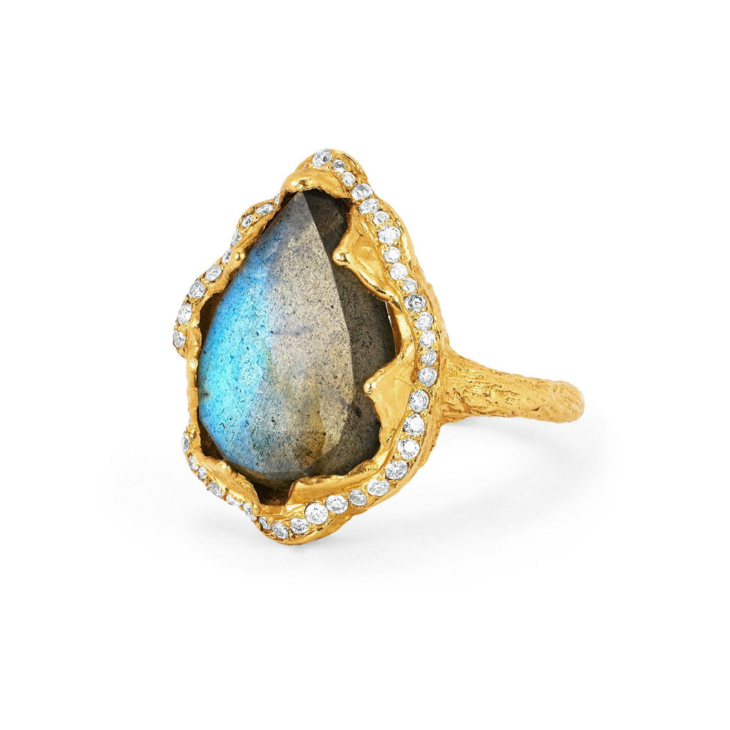 Queen Labradorite Water Drop Ring with Full Pave Halo Yellow Gold