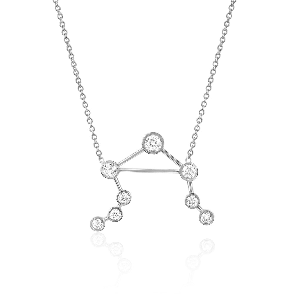Libra Constellation Necklace White Gold