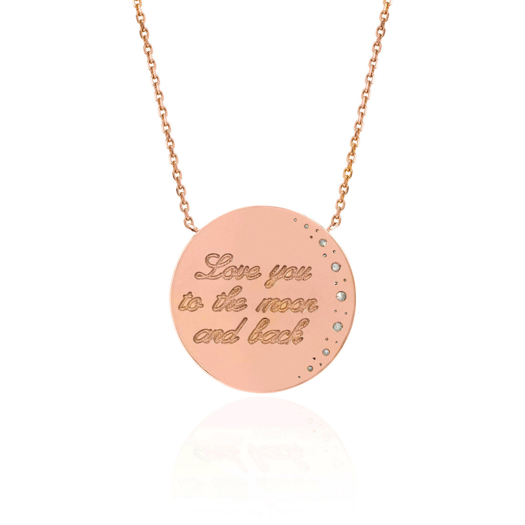 Love You To The Moon and Back Necklace with Diamonds Love You To The Moon and Back Necklace with Diamonds