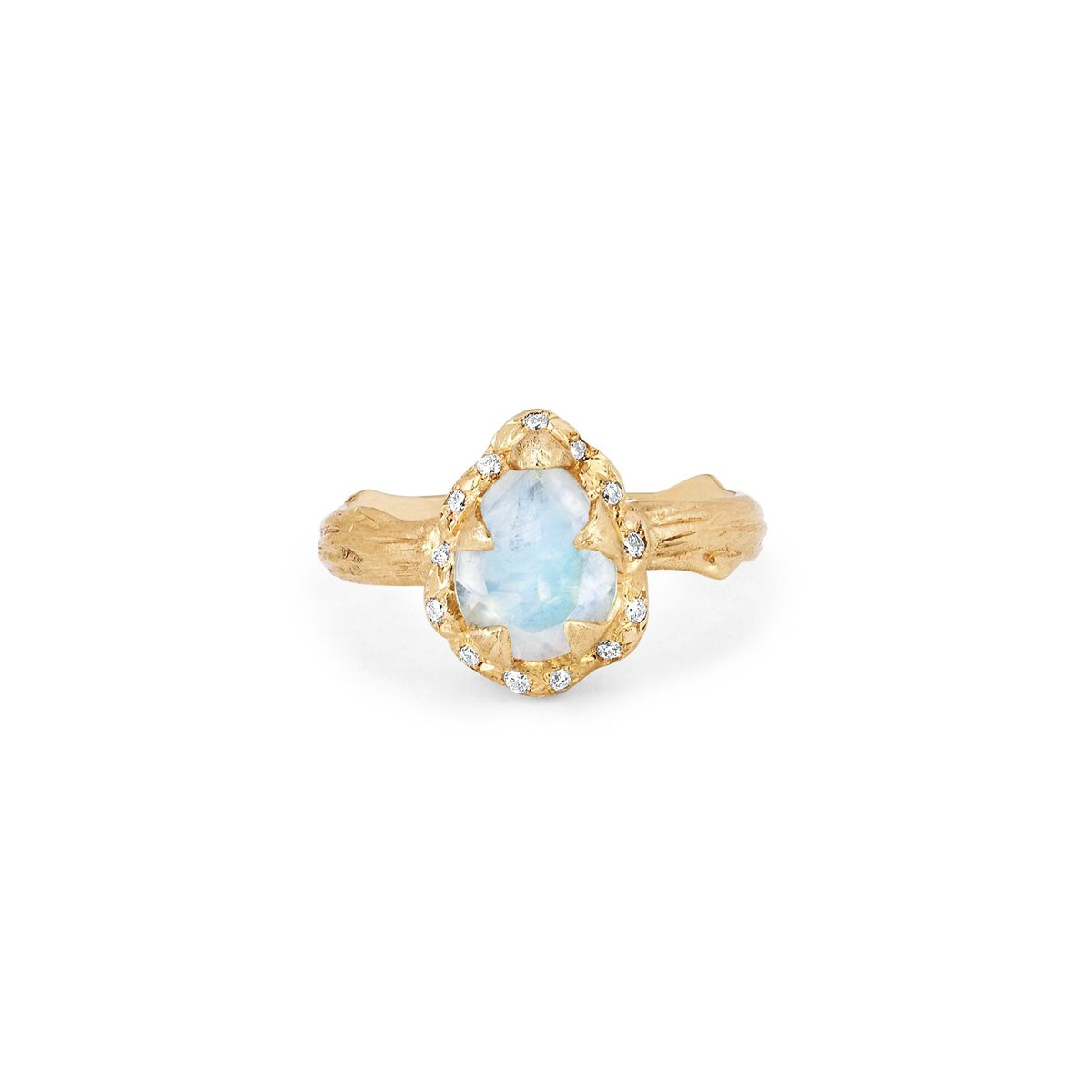 Micro Queen Water Drop Moonstone Ring with Sprinkled Diamonds