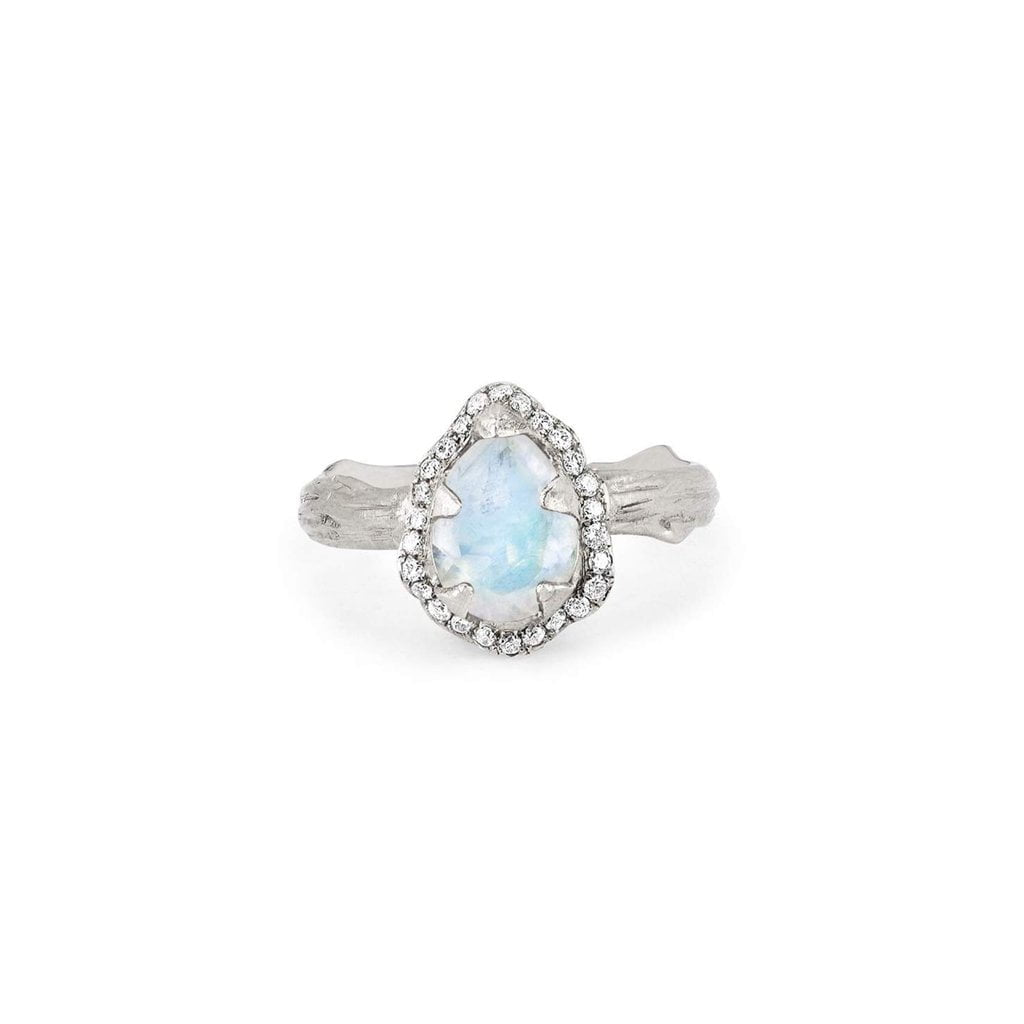 Micro Queen Water Drop Moonstone Ring with Pavé Diamond Halo