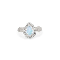 Micro Queen Water Drop Moonstone Ring with Pavé Diamond Halo Micro Queen Water Drop Moonstone Ring with Pavé Diamond Halo