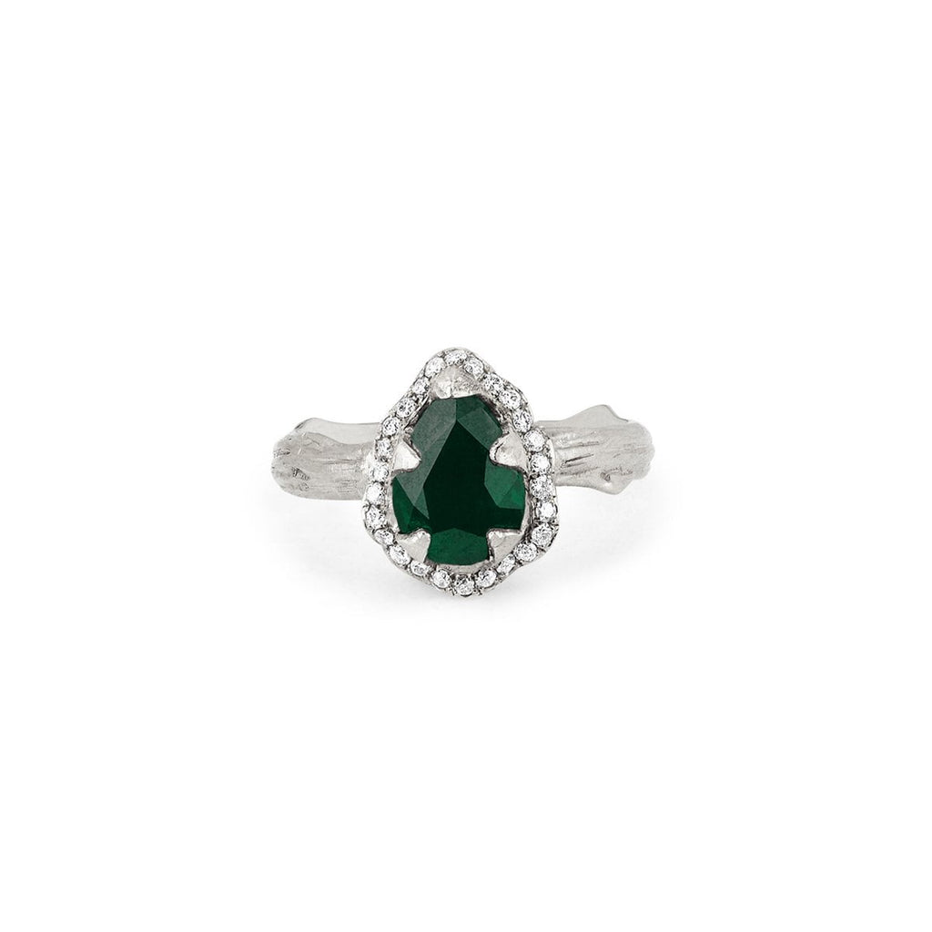 Micro Queen Water Drop Emerald Rose Thorn Ring with Pavé Diamond Halo Micro Queen Water Drop Emerald Rose Thorn Ring with Pavé Diamond Halo