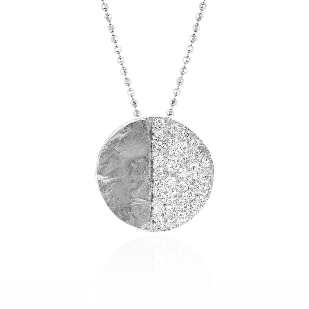 Third Quarter Moon Phase Coin Necklace White Gold