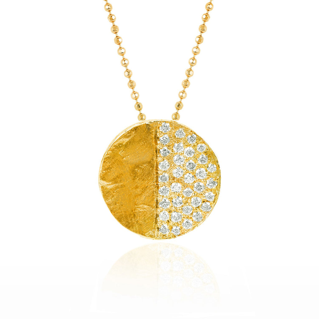 Third Quarter Moon Phase Coin Necklace Yellow Gold