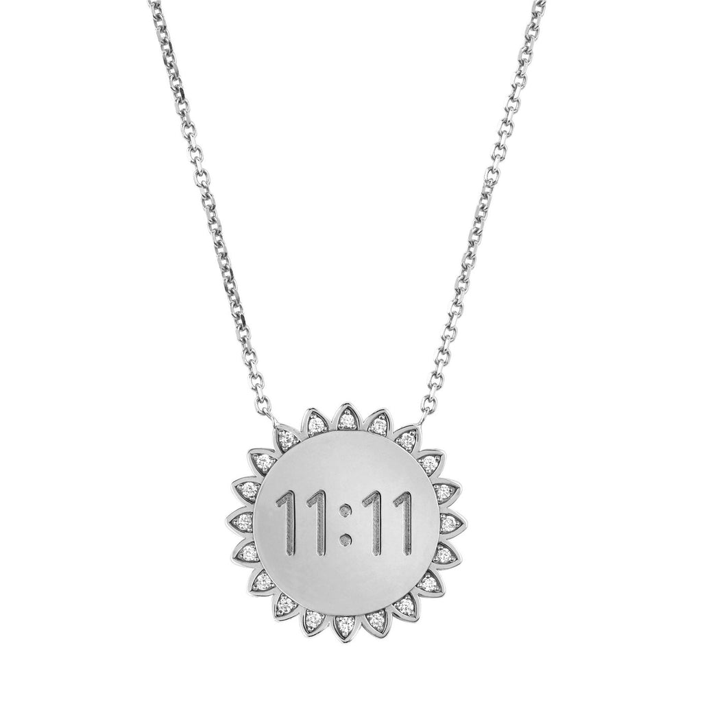 Medium 11:11 Sunshine Necklace with Diamonds White Gold