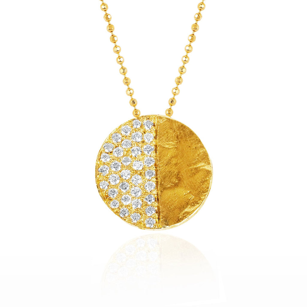 First Quarter Moon Phase Coin Necklace Yellow Gold