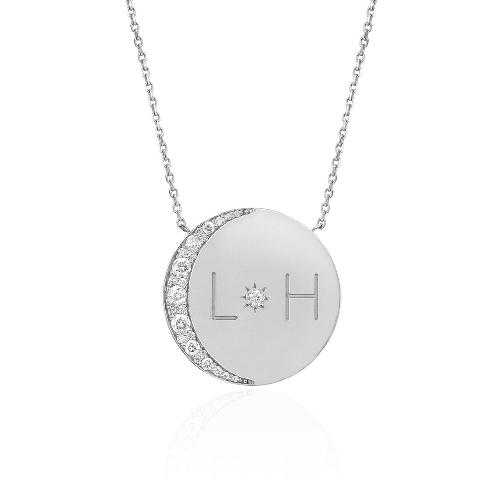 Love You To The Moon and Back Necklace with Diamonds White Gold