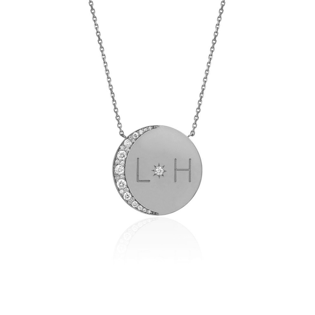 Medium Love You To The Moon and Back Necklace with Diamonds White Gold