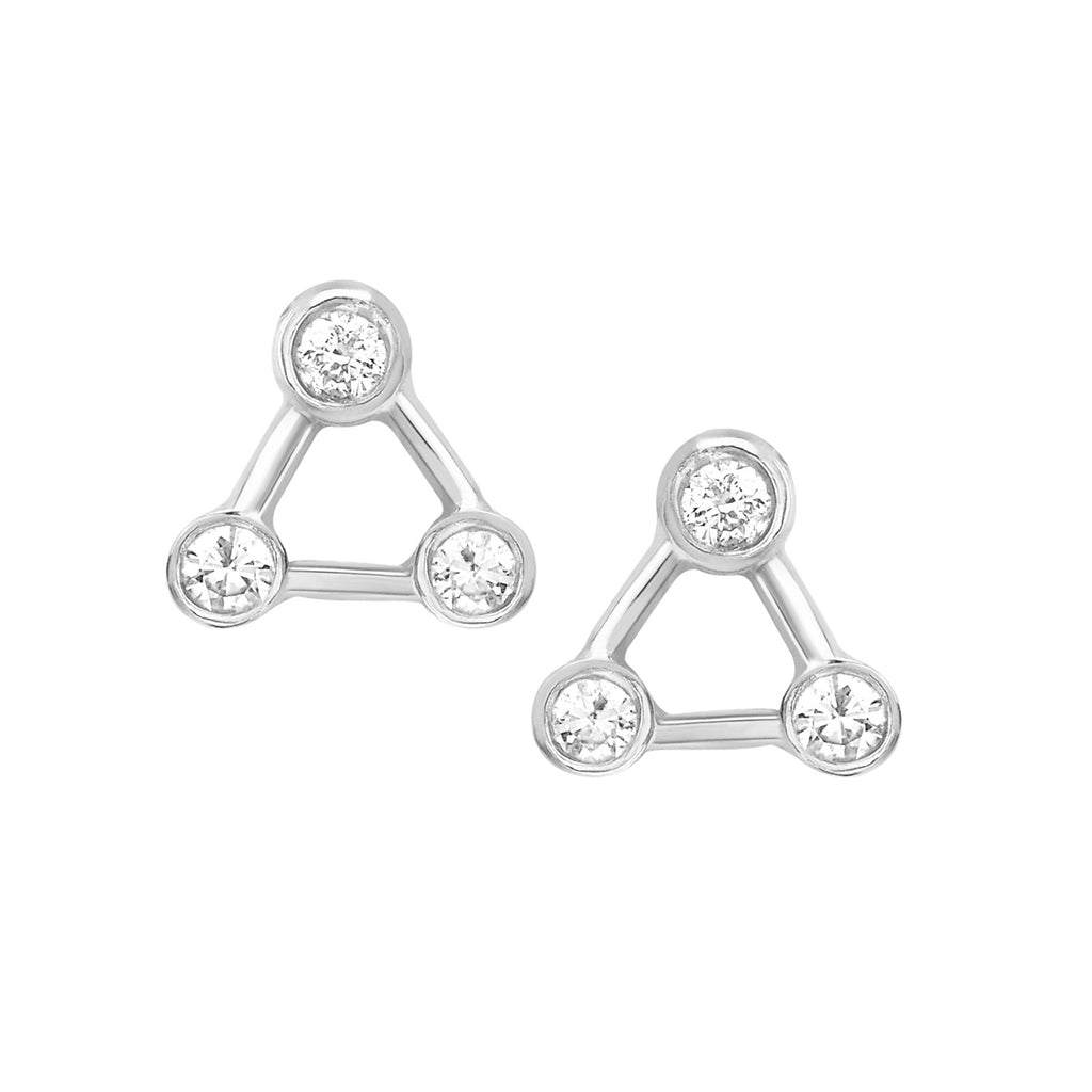 Mini Summer Triangle Diamond Constellation Earrings White Gold