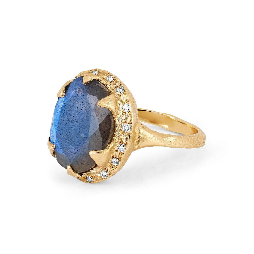 Queen Oval Labradorite Ring with Sprinkled Diamonds Queen Oval Labradorite Ring with Sprinkled Diamonds