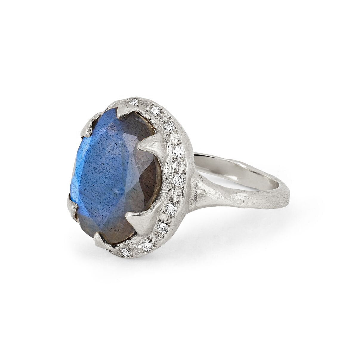 Queen Oval Labradorite Ring with Sprinkled Diamonds