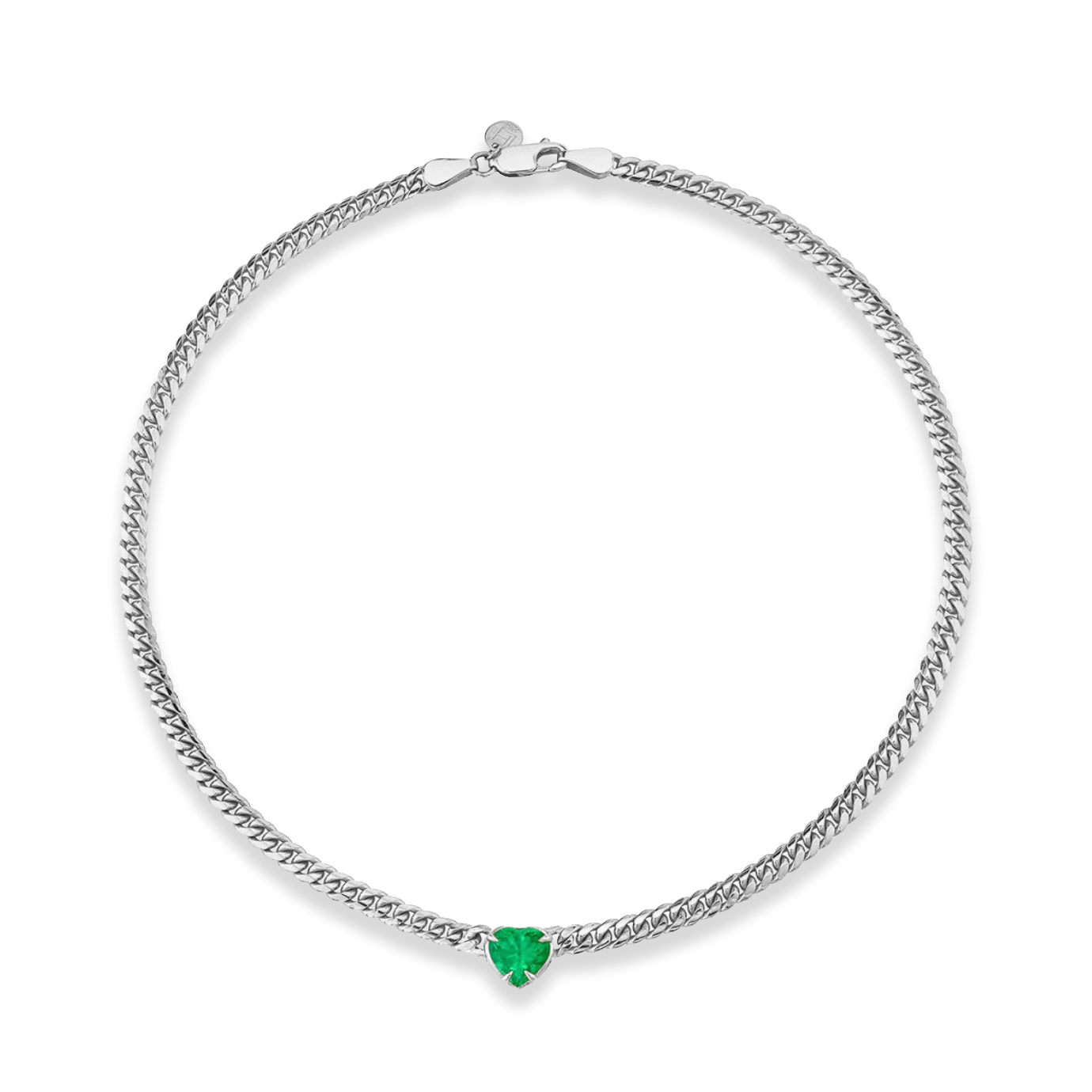 NEW! Queen Emerald Heart Cuban Choker