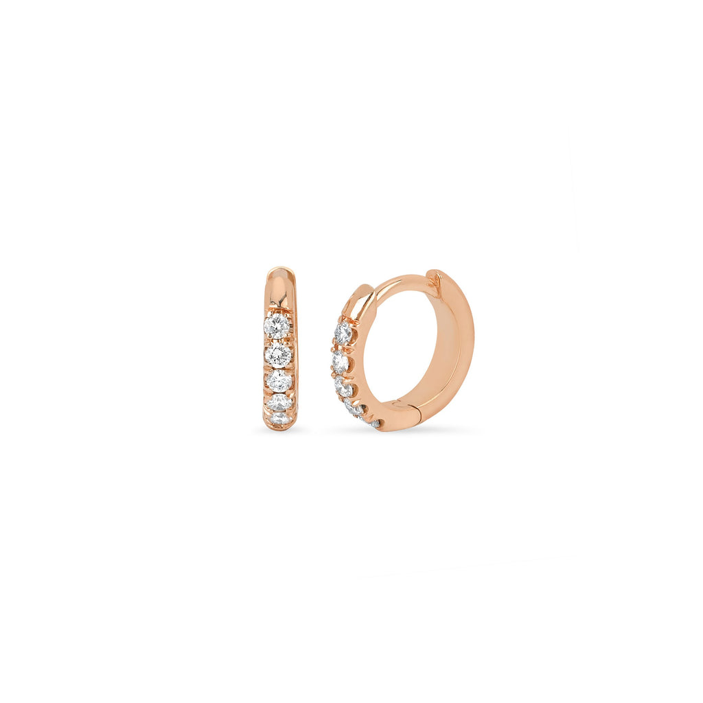 Diamond Mini Goddess Hoops Rose Gold