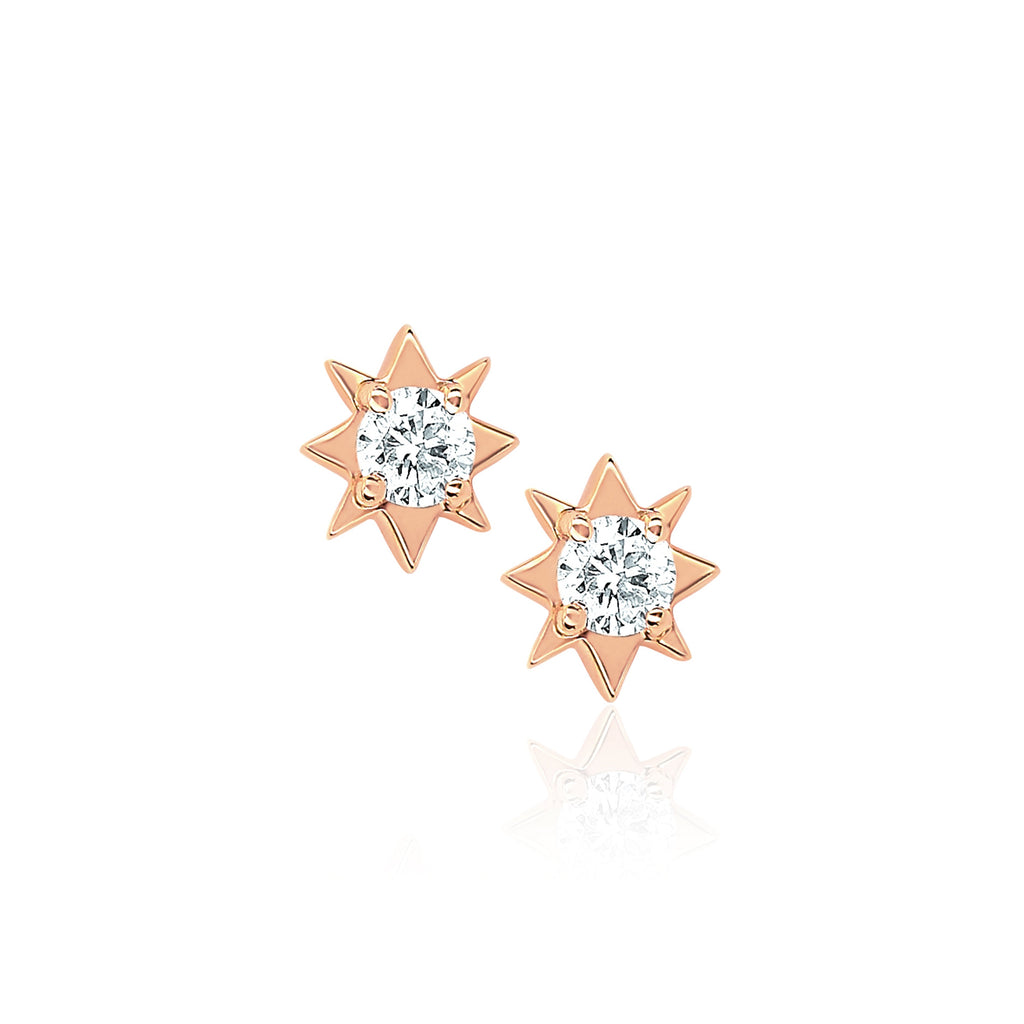 Mini North Star Diamond Studs Rose Gold