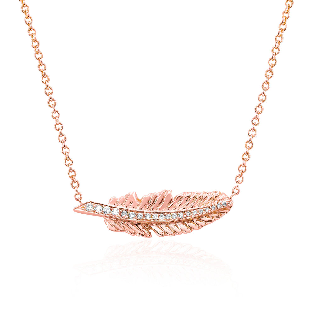 Angel Feather Necklace Rose Gold