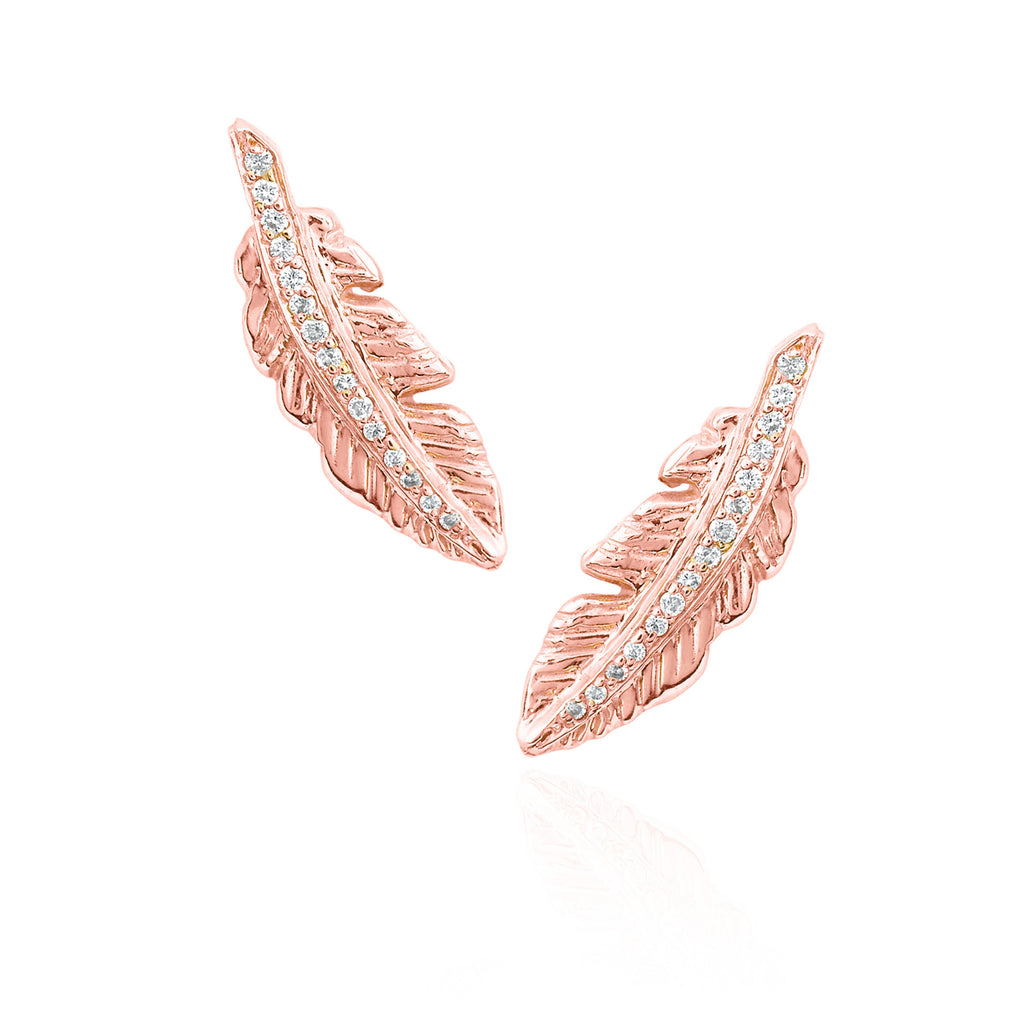 Angel Feather Earrings Rose Gold