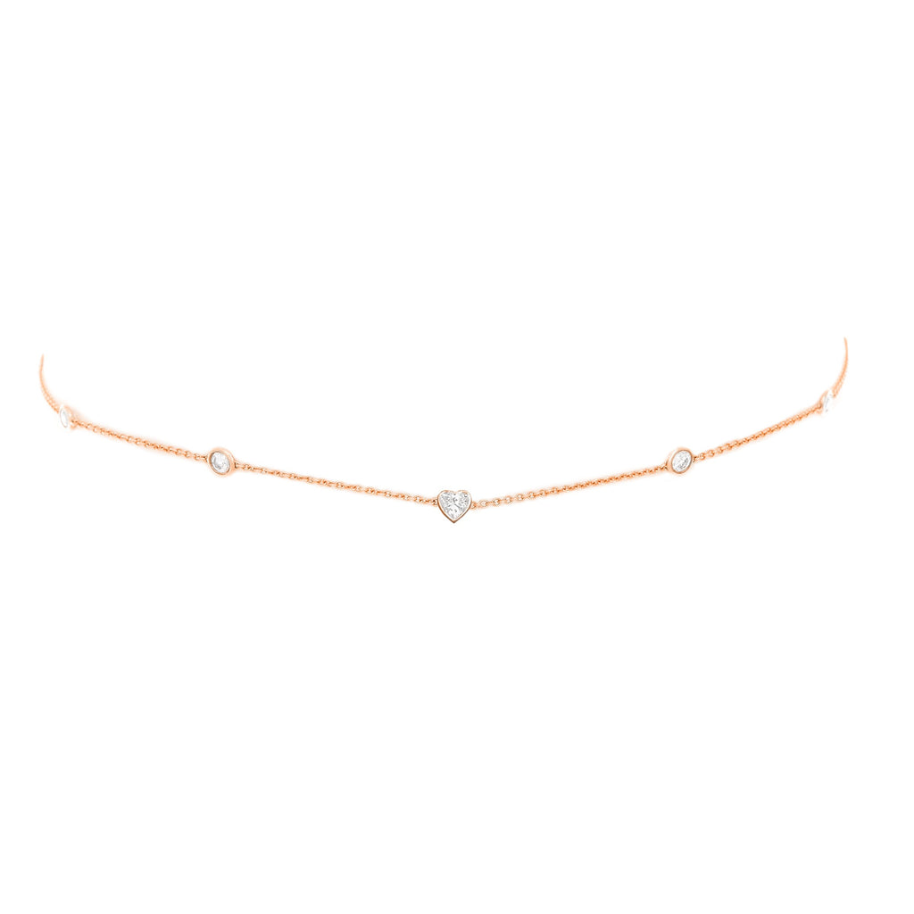 5 Diamond Heart of Light Orbit Choker with Heart Center Rose Gold