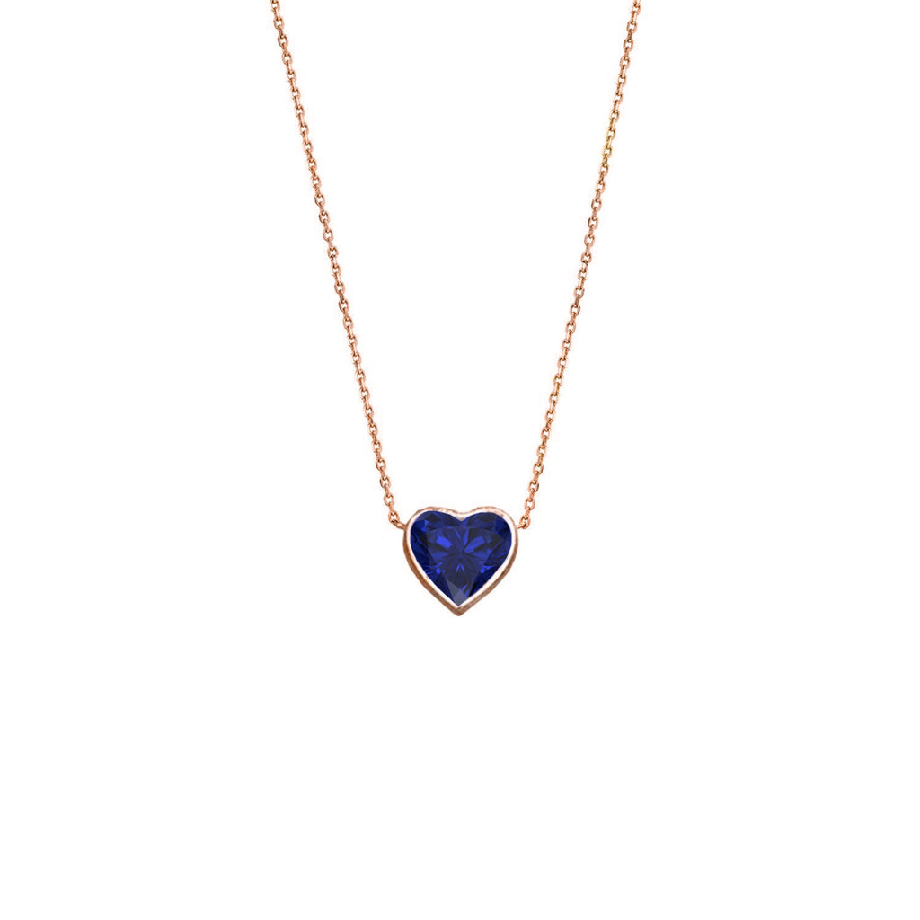Floating Heart Shaped Sapphire Necklace Rose Gold